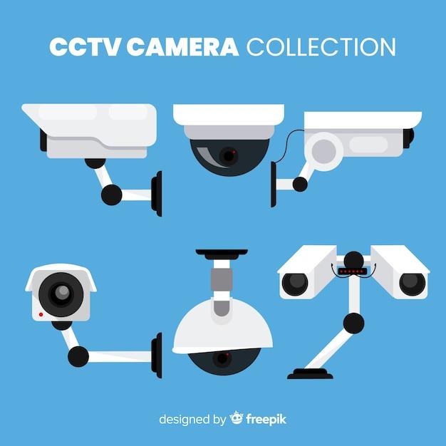 Коллекция камер cctv с плоским дизайном Бесплатные векторы