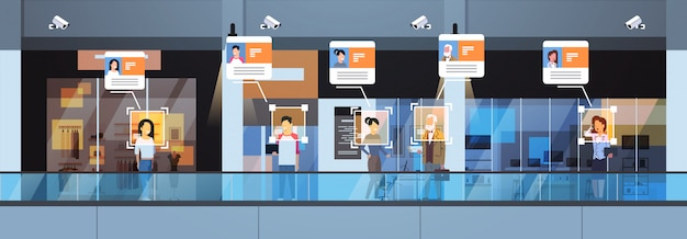 小売店の訪問者の識別顔認識現代のショッピングモールインテリアセキュリティカメラ監視cctvシステム Premiumベクター