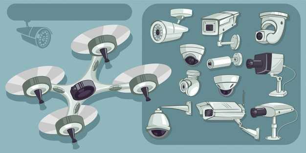Cctvベクトルのアイコンを設定します。家庭やオフィスの保護と防御のためのカメラのセキュリティと監視。分離された漫画イラスト Premiumベクター
