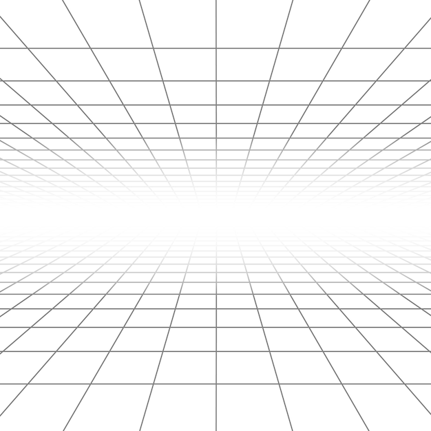 Ceiling and floor perspective grid lines, architecture wireframe Premium Vector