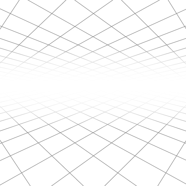 Ceiling and floor tile texture, 3d lines in perspective vision abstract geometric background Premium Vector