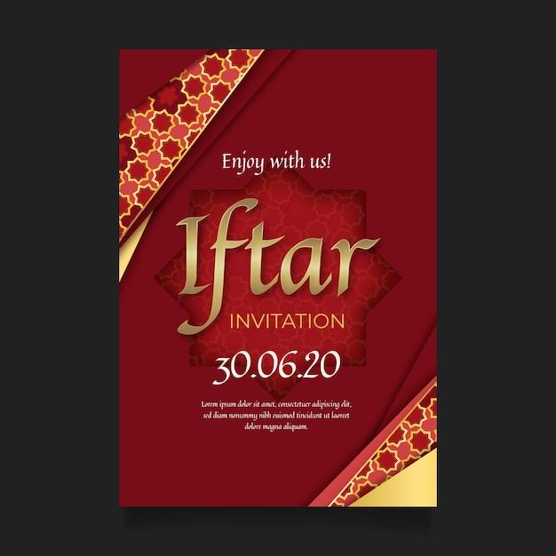 Отпразднуйте реалистичное приглашение индийского ифтара Premium векторы