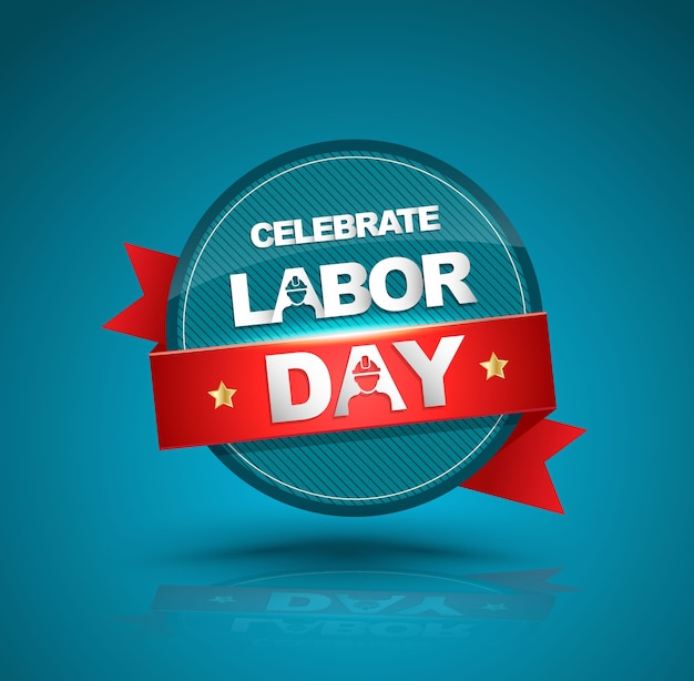 Celebrate labor day badge with red ribbon Premium Vector