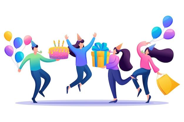 Отметьте день рождения в кругу лучших друзей, дружбы. Premium векторы
