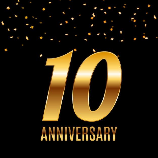 Празднование 10-летия дизайн шаблона эмблемы с золотыми номерами плакат фон. векторные иллюстрации Premium векторы