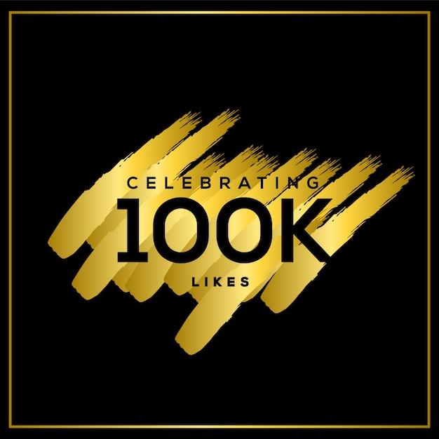 Celebrating 100k likes Premium Vector