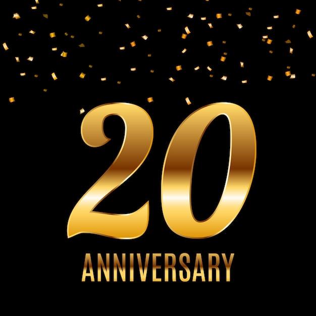 Празднование 20-летия дизайн шаблона эмблемы с золотыми номерами плакат фон. Premium векторы