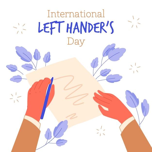 Празднование и письмо левой рукой Бесплатные векторы