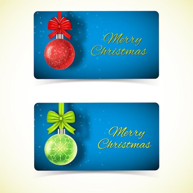 青に赤と緑のクリスマスつまらないものをぶら下げて挨拶水平カードを祝う 無料ベクター