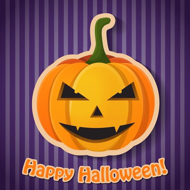 Плакат празднования хэллоуина с надписью и бумажной злой тыквой на фиолетовом полосатом фоне Бесплатные векторы
