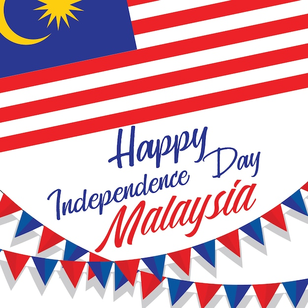 Celebrating malaysia happy independence day Premium Vector