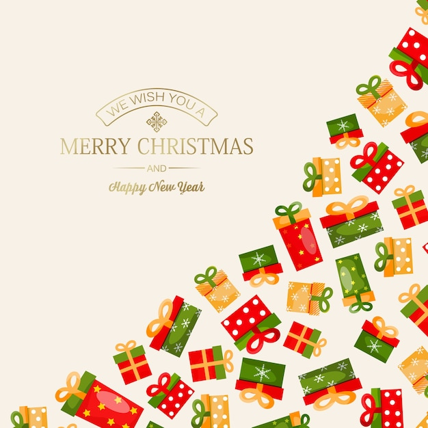 Celebrating merry christmas and new year card with golden greeting inscription and colorful present boxes on light Free Vector