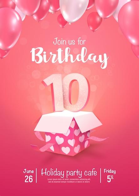 Празднование дня рождения 10 лет векторные иллюстрации 3d. празднование десятилетнего юбилея Premium векторы