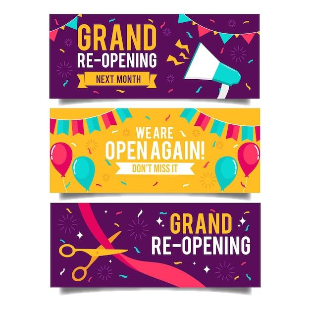 Празднование грандиозного повторного открытия магазина баннера Бесплатные векторы
