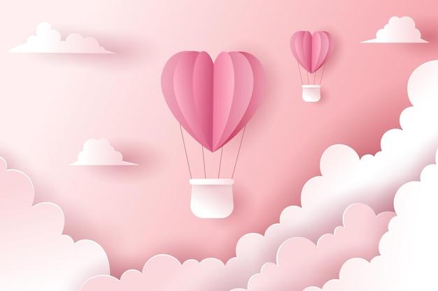 熱風ハートバルーンのお祝い。バレンタインのコンセプト。 Premiumベクター