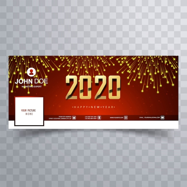 Celebration 2020 new year  cover banner teplate Free Vector