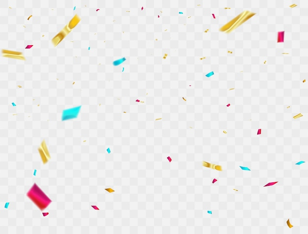 Celebration background confetti colorful ribbons. luxury greeting rich card. Premium Vector