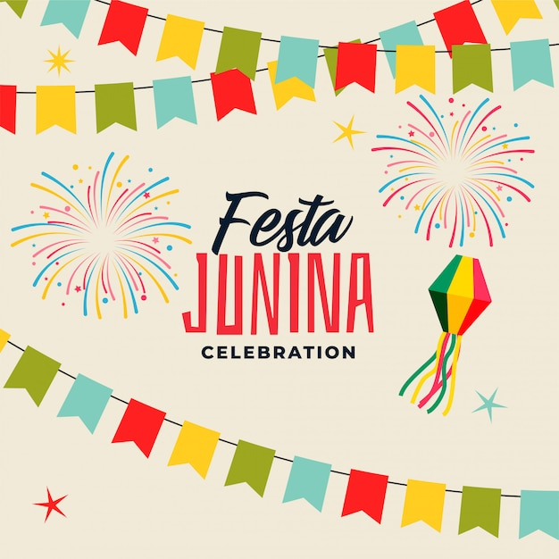 Celebration background for festa junina festival Free Vector