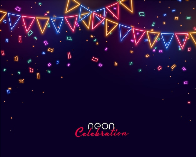 Celebration background in neon style Free Vector