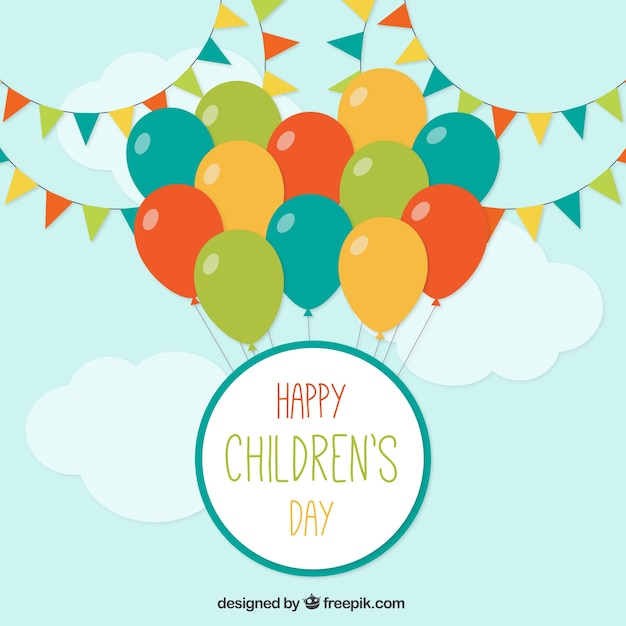 Celebration background of children\'s day with\ colored balloons
