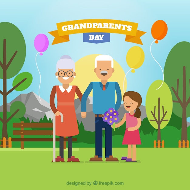 Celebration background of grandparents day with granddaughter