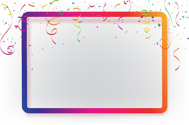 Celebration background template with confetti ribbons. Premium Vector
