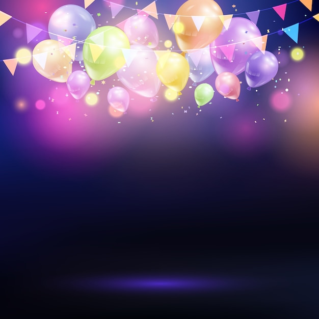 Celebration background with balloons and bunting Free Vector
