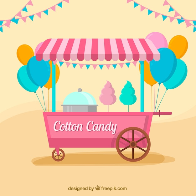 Celebration background with cart of cotton candy in flat design