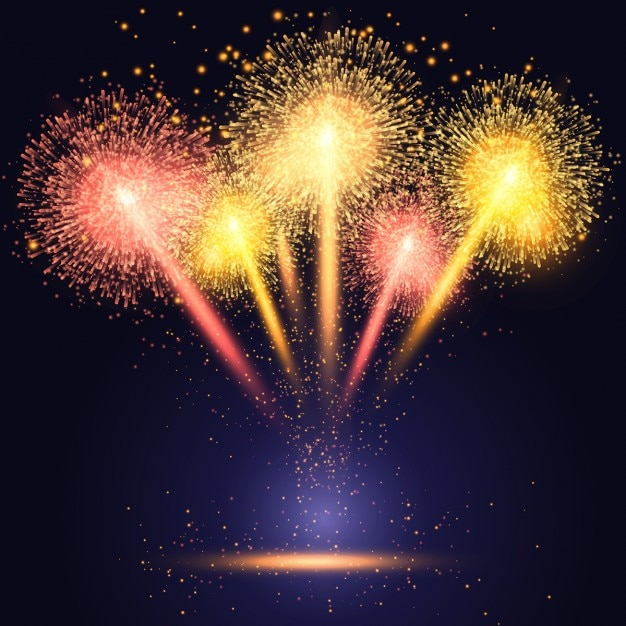 Celebration Background With Colourful Fireworks Vector