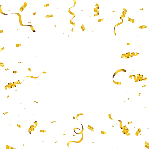 Celebration background with confetti and gold ribbons. luxury greeting rich card. Premium Vector