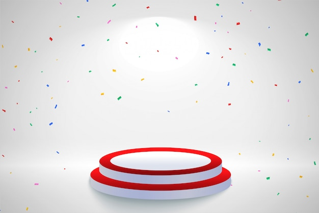 Celebration background with falling confetti and podium Free Vector
