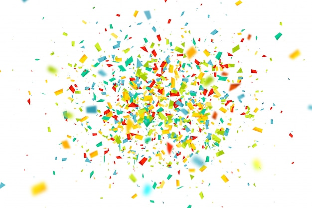 Celebration background with fly colorful confetti Premium Vector