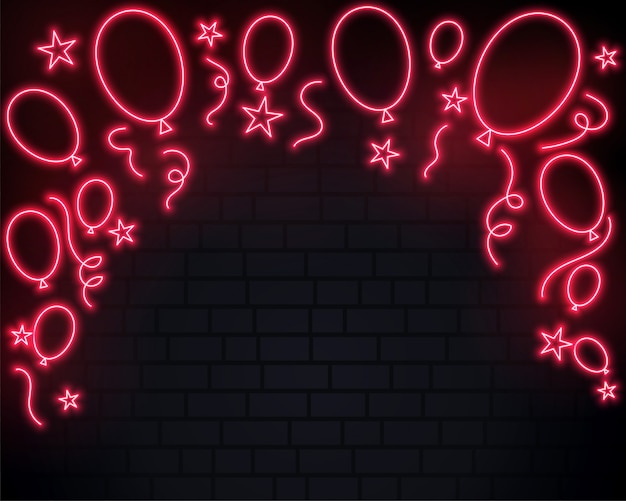 Celebration balloons in red neon style background Free Vector