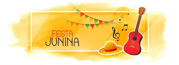 Celebration banner for festa junina with guitar and hat Free Vector