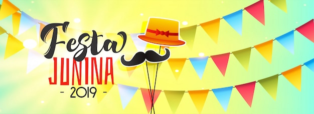 Celebration banner for festa junina Free Vector