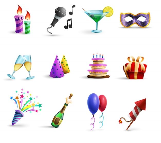 Celebration colorful cartoon style  icons set Free Vector