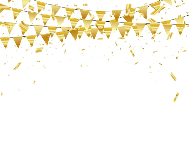 Celebration confetti gold ribbons. Premium Vector