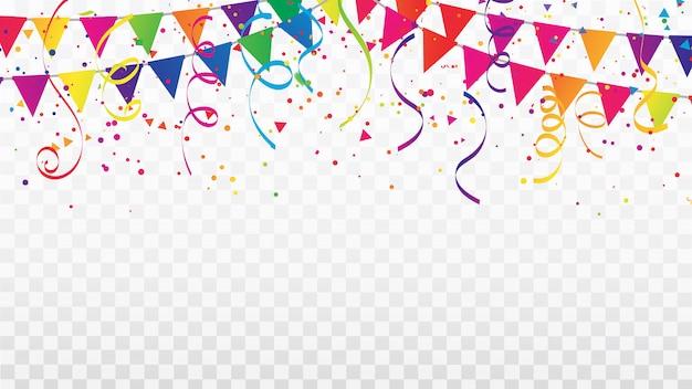 Celebration confetti ribbons and flag frame. Premium Vector