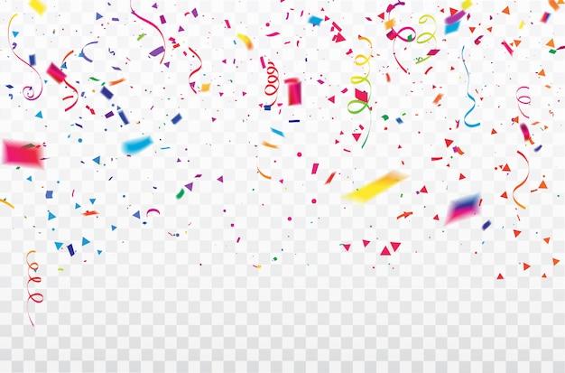 Celebration confetti ribbons frame. Premium Vector