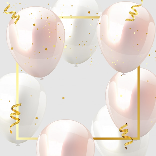Celebration design balloon pink and white, confetti and gold ribbons. Premium Vector
