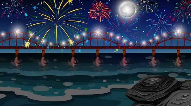 Celebration fireworks with bridge scene Premium Vector