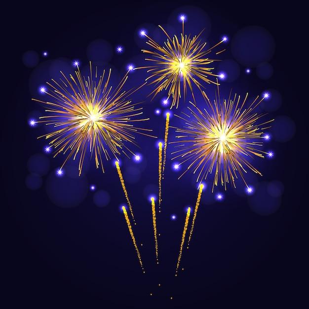 夜空にお祝いの黄金色の花火。 Premiumベクター
