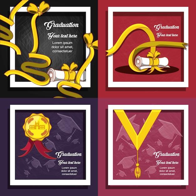 Celebration graduation card set icons Premium Vector