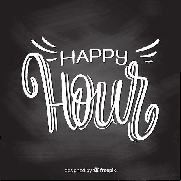 Celebration of happy hour with lettering Free Vector