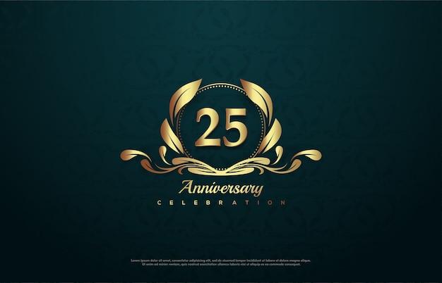 Празднование 25-летия с золотым номером внутри золотой эмблемы. Premium векторы