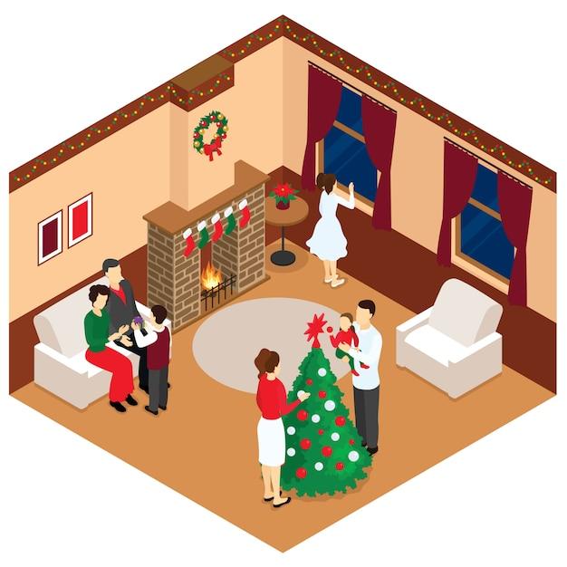 クリスマスアイソメトリックデザインのお祝い 無料ベクター