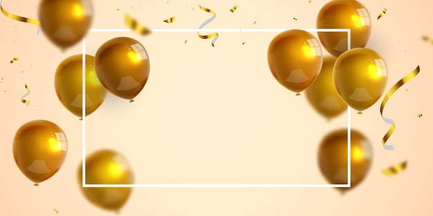 Celebration party banner with gold balloons background. sale . grand opening card luxury greeting rich. Premium Vector
