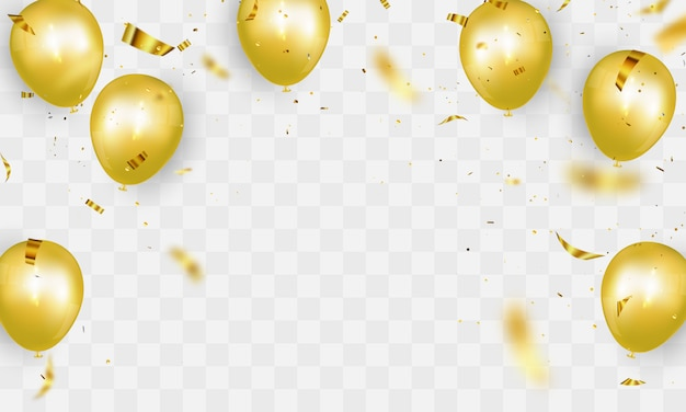 Celebration party banner with gold balloons background. sale illustration. grand opening card luxury greeting rich. Premium Vector
