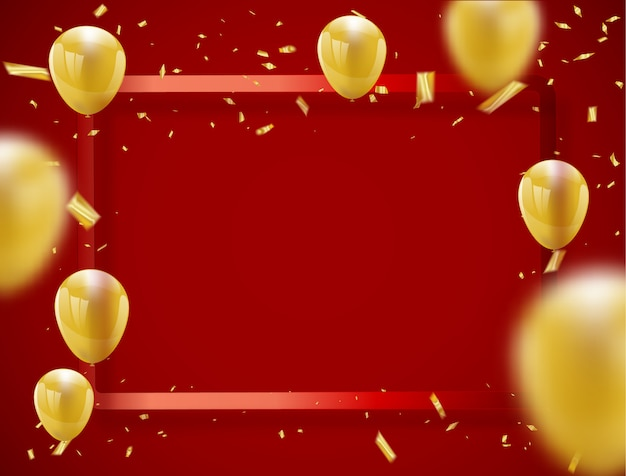 Celebration party banner with golden balloons red background frame. Premium Vector