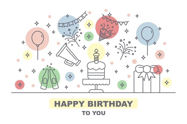 Celebration party card with outline icons elements Premium Vector